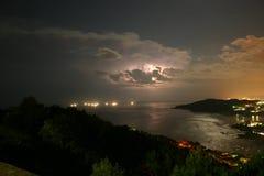 Tempesta nocturna a la costa. Illes Formigues il·luminades celestialment. Little islands at Costa Brava Girona, Catalonia Royalty Free Stock Images
