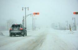 Tempesta principale della neve in Quebec Immagine Stock
