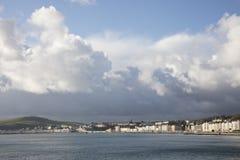 Tempesta sopra l'Isola di Man della passeggiata e di Douglas Bay immagini stock libere da diritti