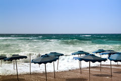 Tempesta sulla spiaggia Fotografie Stock