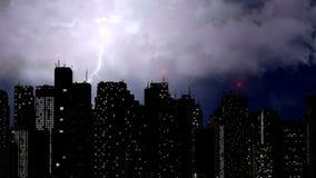 Tempesta violenta che si rompe sopra i grattacieli della megalopoli, fenomeno naturale fotografie stock