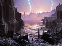 Tempesta violenta sopra la città straniera distante royalty illustrazione gratis