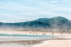 Tempestad de arena en una playa Fotos de archivo libres de regalías