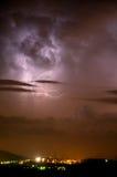 Tempestad de truenos Apennines de la noche Imagenes de archivo