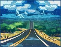 Tempestad de truenos en el valle stock de ilustración