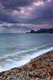 Tempestad de truenos sobre el mar Fotos de archivo