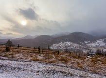 Tempestade da neve do esclarecimento em Rocky Mountains Fotografia de Stock