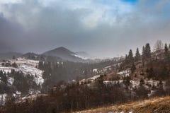 Tempestade da neve do esclarecimento em Rocky Mountains Fotos de Stock