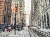 Tempestade da neve em New York imagem de stock royalty free