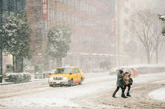 Tempestade da neve em Yokohama, Japão Foto de Stock