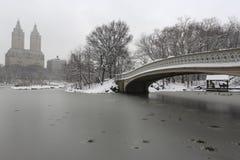 Tempestade da neve no parque Fotos de Stock Royalty Free