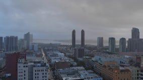 Tempestade da opinião de ângulo alto de Timelapse sobre San Diego Skyline video estoque