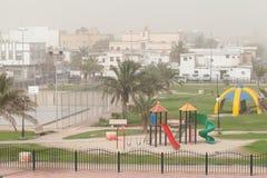 Tempestade da poeira Campo de jogos em Arábia Saudita Imagem de Stock