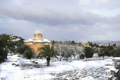 A tempestade das nevadas fortes bate Atenas Imagem de Stock Royalty Free
