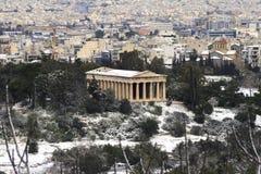 A tempestade das nevadas fortes bate Atenas, Greece Fotografia de Stock