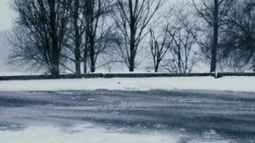 Tempestade de neve na rua da cidade video estoque