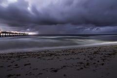 Tempestade do nascer do sol de Dania Pier Imagem de Stock Royalty Free