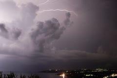 Tempestade do relâmpago, Loudata, Kefalonia, Septmeber 2006 Fotos de Stock Royalty Free