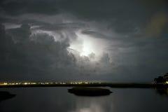 Tempestade do relâmpago sobre a entrada de Murrells Foto de Stock Royalty Free