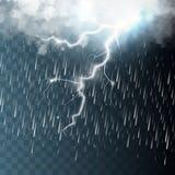 Tempestade e relâmpago com chuva ilustração stock
