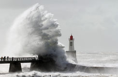 Tempestade em um farol Fotos de Stock