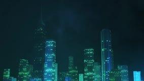 Tempestade gerada por computador da iluminação sobre a cidade na noite ilustração stock