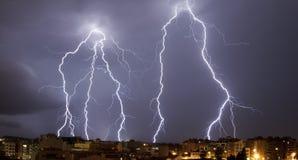 Tempestade grande do relâmpago em Granollers fotos de stock royalty free