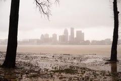 Tempestade histórica que inunda o Rio Ohio Louisville de transbordamento Kentucky fotos de stock