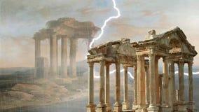 Tempestade nas ruínas ilustração do vetor
