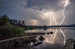 Tempestade no lago Fotografia de Stock