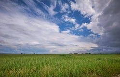 Tempestade sobre os campos Fotos de Stock Royalty Free