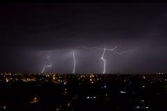Tempestade urbana do relâmpago Imagens de Stock