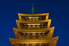 Tempiale buddista di Sensoji alla notte Fotografia Stock Libera da Diritti