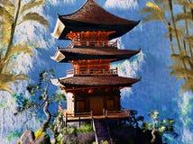 Tempiale buddista in montagne Fotografie Stock