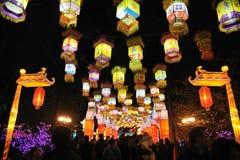 Tempiale cinese di nuovo anno 2012 giusto a Chengdu Fotografie Stock Libere da Diritti