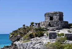 Tempiale del vento in Tulum Messico Immagine Stock