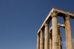 Tempiale dell'olimpionico dello Zeus a Atene Fotografia Stock