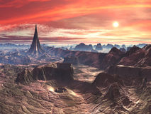 Tempiale della stella e voragine di vortice sul mondo straniero del deserto illustrazione di stock