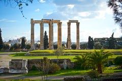 Tempiale dello Zeus di olimpionico a Atene Immagini Stock Libere da Diritti