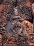 Tempiale di Banteay Srei vicino a Angkor Wat, Cambogia. immagine stock