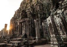 Tempiale di Bayon in Angkor Immagini Stock Libere da Diritti
