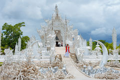 Tempiale di bianco di Wat Rong Khun Fotografia Stock