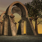 Tempiale di fantasia all'alba Immagine Stock
