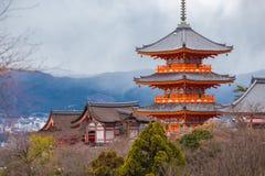 Tempiale di Kiyomizu-dera a Kyoto Fotografia Stock