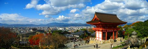 Tempiale di Kiyomizu-dera panoramico Fotografia Stock Libera da Diritti