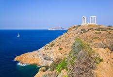 Tempiale di Poseidon vicino ad Atene, Grecia immagini stock libere da diritti