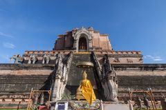 Tempiale di Wat Chedi Luang a Chiang Mai, Tailandia Fotografia Stock Libera da Diritti