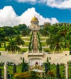 Tempiale e giardini di Bahai a Haifa Israele Fotografia Stock Libera da Diritti