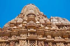 Tempiale erotico famoso in Khajuraho, India Fotografia Stock Libera da Diritti