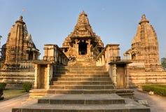Tempiale erotico in Khajuraho. L'India. Fotografia Stock Libera da Diritti